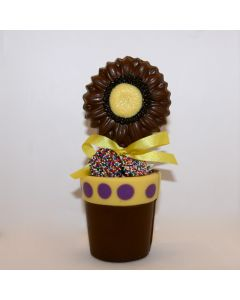 Sunflower in a chocolate planter favor
